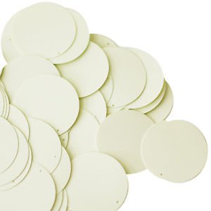 30mm ROUND SEQUIN PAILLETTES ~  Opaque IVORY BONE CREAM ~ Flat Disc~ Made in USA