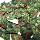 """Long Diamond Sequin 1.75"""" Holly Leaves and Berries Green Leaf Red Berry Metallic"""