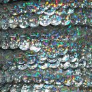 Sequin Trim Ultra Silver Hologram 8mm Cup Facet strung by the yard. Made in USA.