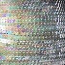 Sequin Stitched Trim 4mm ~ Silver Iris Rainbow Iridescent Metallic ~ Made in USA