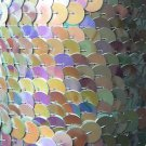 Silver Iris Rainbow Large Sequin Trim 10mm flat strung by the yard. Made in USA.