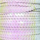 """White Iris Pink Hue Sequin Trim 6mm 1/4"""" wide stitched, strung by the yard 15'"""