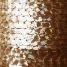 Gold Prism Multi Reflective Metallic Sequin Trim 10mm flat strung. Made in USA.