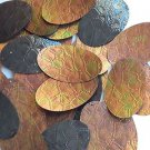 Sequin Bronze Gold Iris Brown Oval 2inch Tooled Leather Effect Couture Paillette
