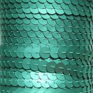 Sequin Trim Lt Green Matte Silk Frost 8mm flat strung by the yard. Made in USA.