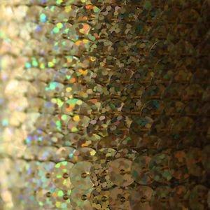 SEQUIN STRING TRIM ~  GOLD LASER HOLOGRAM~ 6mm FLAT strung by yard  Made in USA