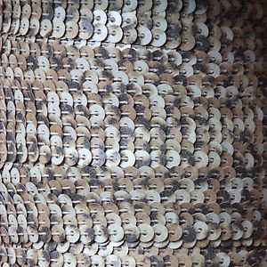 Sequin Stitched Trim 4mm ~ Dark Leopard Print  ~ Strung by the yard. Made in USA