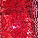 Sequin Trim Red Hologram Reflective 8mm flat strung by the yard. Made in USA.