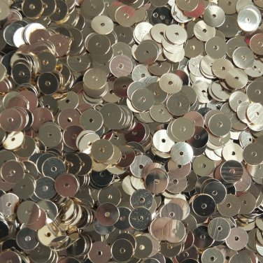 6mm Flat Round Sequins Light Champagne Gold Shiny Metallic. Made in USA