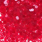 4mm Flat SEQUIN PAILLETTES Loose ~ Ruby Red Transparent See Thru