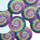 "Round Sequin 1.5"" Tie Dye Rainbow Hippy Pattern Multicolor Opaque"