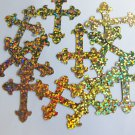 "Sequin Fleurie Cross 1.5"" Gold Hologram Glitter Sparkle Metallic. Made in USA"