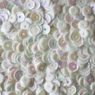 5mm Cup SEQUIN FACET PAILLETTES ~ OPAQUE WHITE RAINBOW IRIS ~ Made in USA