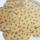 Round Sequin 30mm Black Spiders Print on Gold Metallic Couture Paillettes