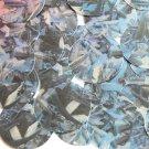 "Sequin Round 1.5"" Blue Silver Bird Feathers Print Metallic"