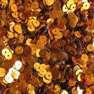 5mm Flat Round Sequins Orange Shiny Metallic. Made in USA