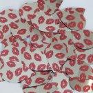 "Teardrop Sequin 1.5"" Red Lips Kiss Lipstick Print Silver Metallic Paillettes"