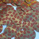 """Round Sequin 1.5"""" Red Lips Kiss Lipstick Print Gold Metallic Couture Paillettes"""