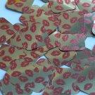 "Square Diamond Sequin 1.5"" Red Lips Kiss Lipstick Print Gold Metallic Paillettes"