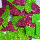 "Fishscale Fin Sequin 1.5"" Lime Hot Pink Fluorescent 2 sided Hologram Glitter"