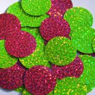 "Round Sequin 1.5"" Lime Hot Pink Fluorescent 2 sided Hologram Glitter Sparkle"