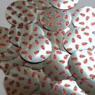 "Round Sequin 1.5"" Ladybug Ladybird Print on Silver Metallic Couture Paillettes"