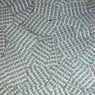 "Oval Sequin 1.5"" Green Silver Rocaille Seed Bead Print Metallic Paillettes"