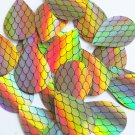 """Teardrop Sequin 1.5"""" Black Gold Fish Scale Effect Print Lazersheen Paillettes"""