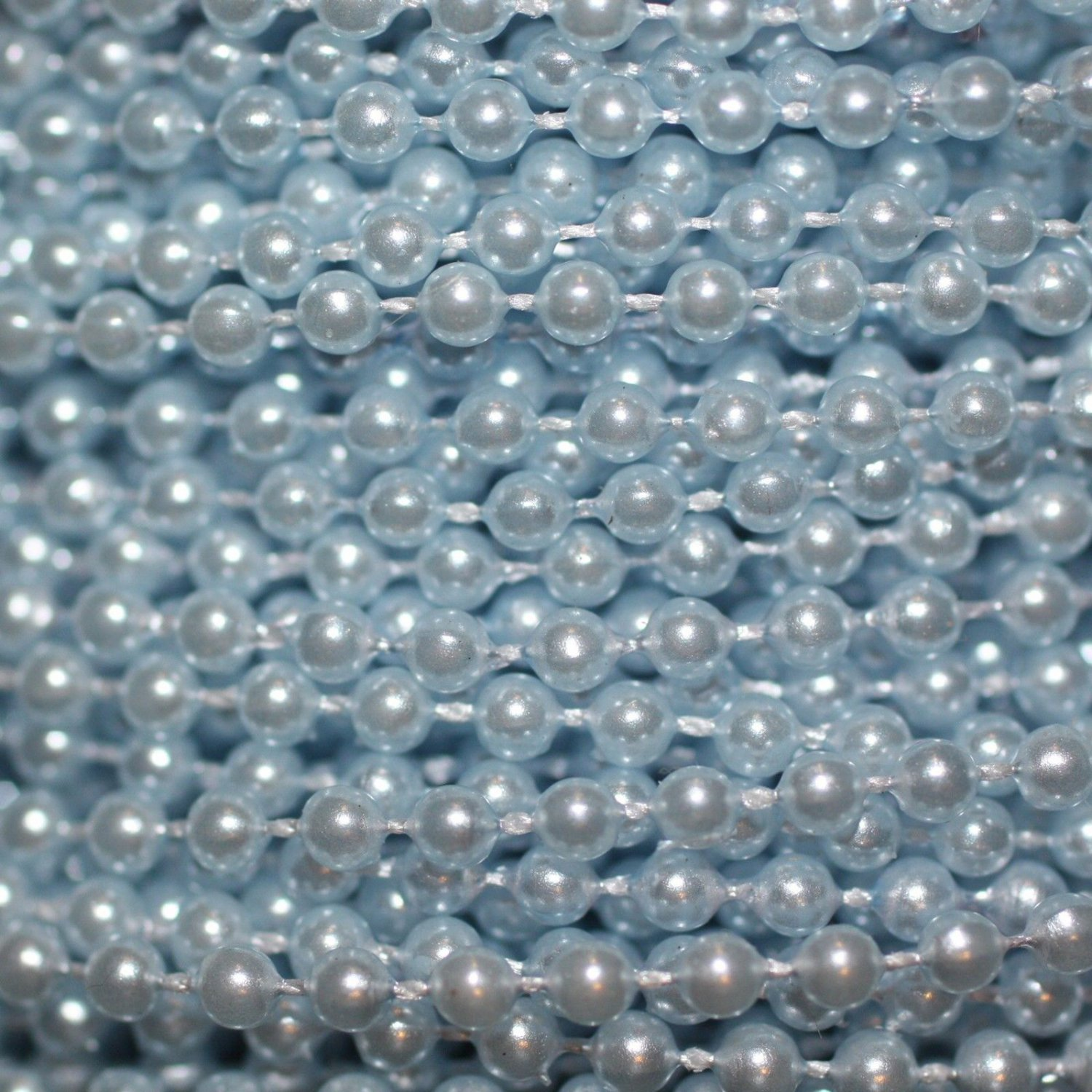 Light Blue Pearl Beads 2.5mm Molded on Thread Fused to string 120 inches (10')