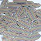 "Sequin Oval 1.5"" Rainbow Pinstripe Print on Shiny Metallic"
