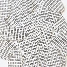 """Sequin Oval 1.5"""" Black White Binary Tech Code Print Out Opaque"""