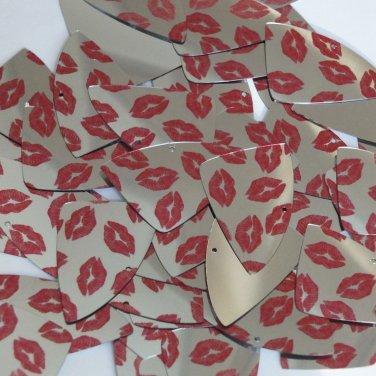 "Fishscale Fin Sequin 1.5"" Red Lips Kiss Lipstick Print Silver Metallic Paillette"