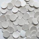 15mm Vinyl Disc White Metallic Leather No Hole Round Circle
