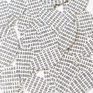 """Sequin Navette Leaf 1.5"""" Black White Binary Tech Code Print Out Opaque"""