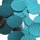 "Round Sequin 1.5"" Teal Blue Green Corrugated Stripe Metallic"