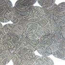 Sequin Round 30mm Mehndi Print Pattern Black Silver Metallic