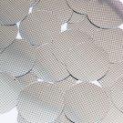 "Sequin Round 1.5"" Black Silver Grid Check Squares Print Metallic"