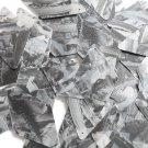 "Sequin Long Diamond 1.75"" Black Silver Bird Feathers Print Metallic"