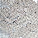 Sequin Round 30mm Black Silver Grid Check Squares Print Metallic