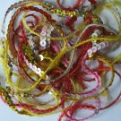 """4mm Sequin Trim Sampler Pack. 10 (12"""") pieces. Colors: Yellow Red Pink Gold"""