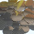 Sequin Round 30mm Gold Black Pinstripe Metallic Couture Paillettes