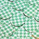 Round Sequin 30mm Green Silver Houndstooth Pattern Metallic