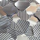 """Square Diamond Sequin 1.5"""" Black Gray Corrugated Stripe Metallic"""