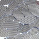 """Sequin Oval 1.5"""" Blue Silver Pinstripe Metallic Couture Paillettes"""