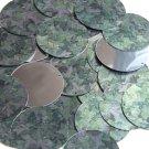 """Round Sequin 1.5"""" Green Ivy Vine Leaf Silver Metallic"""