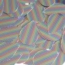 """Sequin Teardrop 1.5"""" Rainbow Pinstripe on Silver Metallic"""