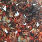 "Sequin Square Diamond 1.5"" Orange Silver Bird Feathers Print Metallic"