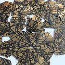 """Sequin Long Diamond 1.75"""" Gold Black Scribble Metallic Couture Paillettes"""