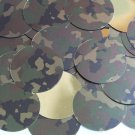 "Round Sequin 1.5"" Camo Brown Green Camouflage Gold Metallic"