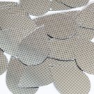 "Sequin Teardrop 1.5"" Black Silver Grid Check Squares Print Metallic"